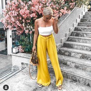 Zara satin yellow pants
